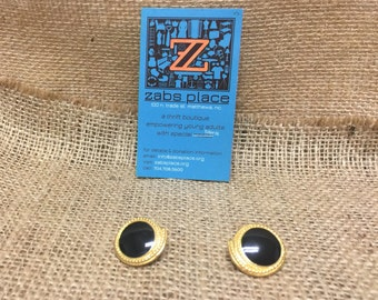Vintage Tirfari Gold Toned Earrings With Black Stone