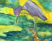 Blue Heron in watercolor,...