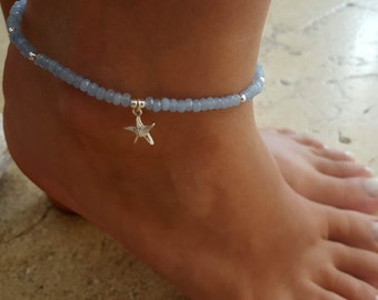 Blue Anklet - Blue Ankle Bracelet - Beaded Anklet - Crystal Anklet - Foot Jewelry - Foot Bracelet - Summer Jewelry - Beach Jewelry