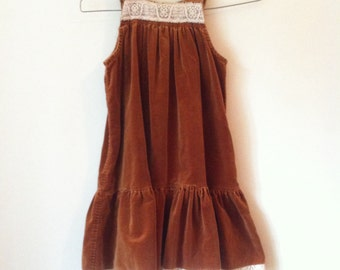 Girls Brown Velour Dress with White Lace