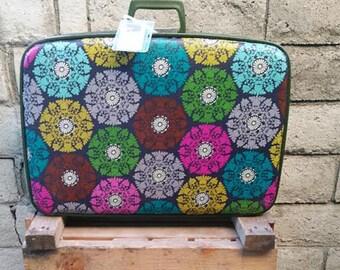 Revamped 1970s Vintage Large Suitcase - Pinwheel Mandalas