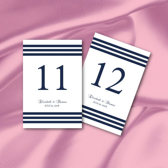 Navy Table Numbers Template Diy Blue White Striped Simple