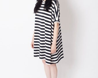 Blue & white dress,  stripe dress, nautical dress, oversize tunic, A-line dress, loose dress, casual dress, day dress