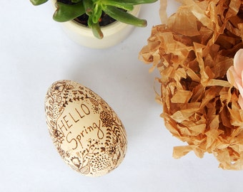 Pyrography wooden egg. Wood burning egg. Hello Spring wooden egg. Wooden Easter egg. Pyrography art egg. Easter home decor.  Spring decor.