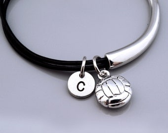 Volleyball bangle, volleyball bracelet, Volley Ball charm, Sports charm, Leather bracelet, Leather bangle, Initial bracelet