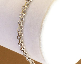 "Sterling Silver Bismarck Chain Bracelet 7"" x 4mm"