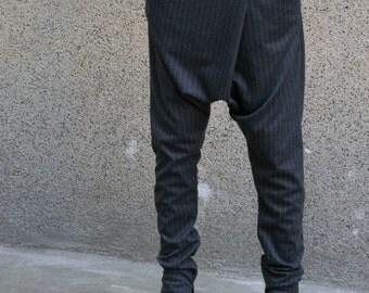 WRAPPED pants/Loose Pants/Harem Pants/Drop crotch pants/Stripe pants/Gray trousers/Casual Pants/Daywear/ Stretchy pants/Suit pants/F1624
