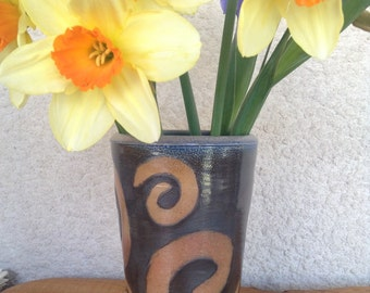 Soda Fired Pottery Vase with Spirals / Blue Black Ceramic Flower Vase