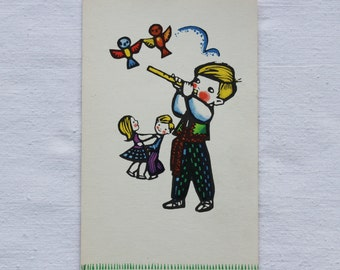 "Illustrator Sklyutauskayte Vintage Soviet Postcard ""Dance the polka"" - 1968. Sovetskiy hudozhnik. Boy, Girl, Birds, Fife"