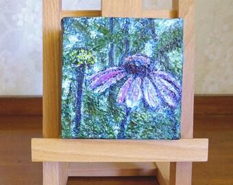 Purple flower painting, miniature art on canvas, purple green decor, purple coneflower echinacea, desk art, 4x4, free shipping