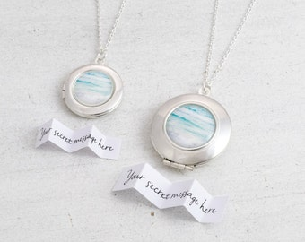 Ocean Jewelry, Ocean Necklace, Ocean Locket, Surf Jewelry, Message Locket, Personalized Locket, Beach Wedding, Secret Message Locket