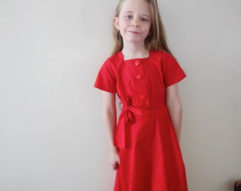 Vintage Handmade Red Dress - Girls size 6