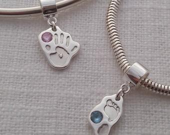 Footprint charm - Baby, child footprint jewellery,fine silver keepsake, cubic zirconia, new mum gift