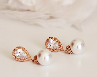 Rose Gold Bridal Earrings Pearl Wedding Earrings Rose Gold Earrings Bridesmaid Gifts Swarovski Pearl Drop Earrings Wedding Bridal Party