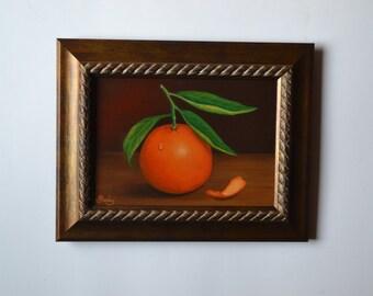 Original 5x7' small still life painting, orange artwork, tangerine art, clementine, tiny fruit painting, kitchen painting, food, tangerines