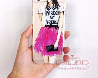 Pardon my french, Clear IPhone 6 Case, Clear IPhone 6s Case, Chic Iphone case, Chic IPhone 6 Case, Clear Iphone 6 cover, Cute Iphone 6 Case