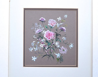 Watercolor of Pink Roses and Heather Signed Joy Parsons Rose & Heather Vintage Watercolor Art OOAK Painting Vintage Floral Painting