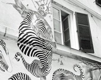 Black and White, Street Art, Graffiti, Italy Photography, Urban Decor, Europe, Wall art, Genoa, Genova, Fine art print, Italy photo