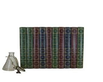 Blue, Red, Green  Decorative Books for Interior Design and Home Decor, Blue Vintage Books,  Popular Classics