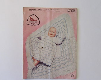 Vintage (1950s) knitting book, 'Knitted Layettes And Shawls',  Patons No. 659