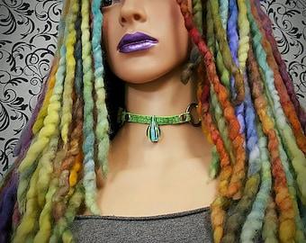 Combo Deal - NERISSA Fae Falls™ + MOREA Custom Leather Choker - fairy costume,mother earth,Cryptids,siren,sea maiden,seapunk,green leather