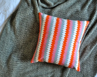 Geometric Cushion Cover, Throw Pillow Cover, Throw Cushion Cover, Decorative Cushion Cover, Decorative Pillow - Orange, Grey, Pink Zig Zag