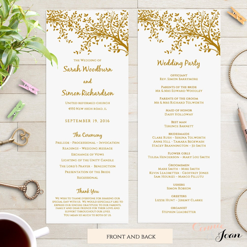 Printable Wedding Program Template DIY Long Thin Program Order Of Service Printable Gold