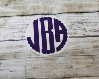 Scalloped Circle Monogram Decal / Monogram sticker / yet cooler monogram decal / laptop decal / car decal /circle monogram