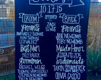 Wedding Program Board