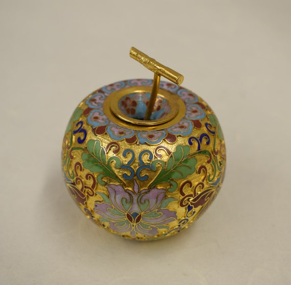 Apple Cloisonne' Gold Container China Handmade Decorative Apple Pink Green Cloisonne' Brass Enamel Flowers