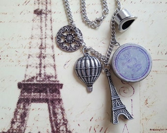 """Paris on My Mind Necklace: Top Hat, Crown Tin, Eiffel Tower, Hot Air Balloon and Filigreed Flower, Pewter & Silver Metal Charms on 22"""" Chain"""