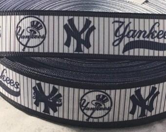 """Yankees Ribbon - 7/8"""" Grosgrain Ribbon New York Yankees Ribbon by yard, for hair bows,crafting and more! Baseball Ribbon - Yankees"""
