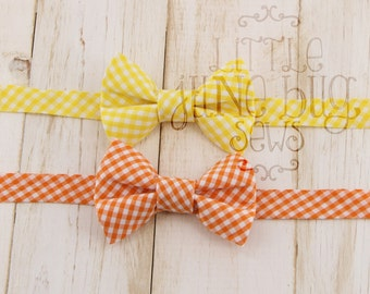 Little Boy Bow Tie, Yellow gingham bow tie, Orange Gingham Bow Tie, Ring Bearer Bow Tie, Pre-tied Bow tie, Spring Bow Tie