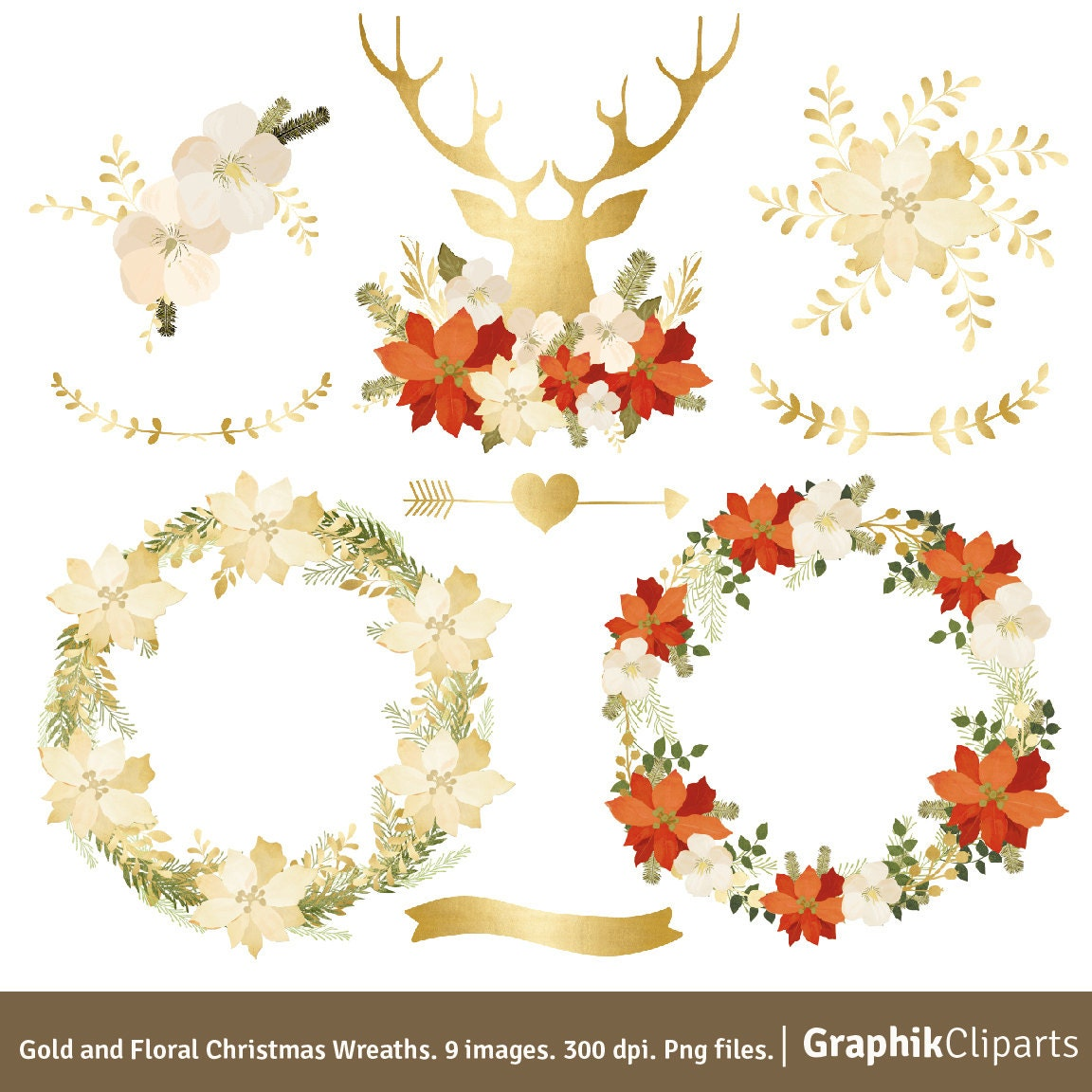 Gold and Floral Christmas Wreaths FREE BONUS Floral Quote.