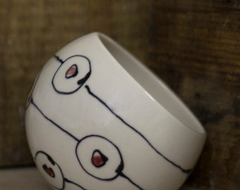 Porcelain salt cellar • salt pig • salt holder • circles • dots • lines • handmade • colorful • modern • orange  • green • red • kitchen