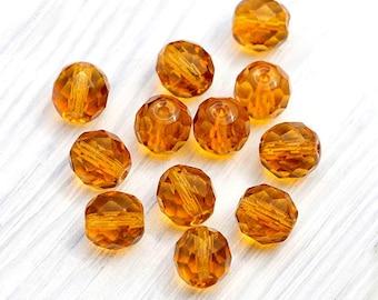 30 Pcs Topaz Beads, Amber Beads, Faceted Round Beads, Golden Topaz, Fire-polished, Czech Glass Beads, 10 mm - CB21