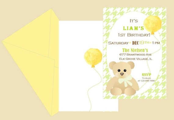 Teddy Bear Birthday Invitation Houndstooths Pattern With Brown And Balloon Printable