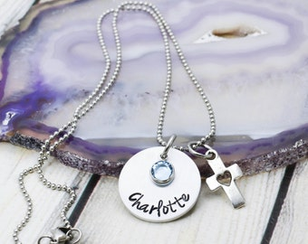 First Communion Necklace - Personalized Girls Cross Necklace - First Communion Gift for Girl - Cross Necklace for Girl - Confirmation Gift