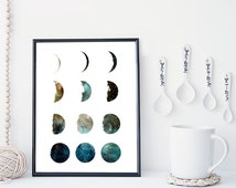 Galaxy moon phase print, wall art, poster, moon art print, moon phases, home wall decor, modern print, nebula print, moon poster, minimal