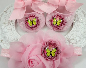 Baby Girl Crib Shoes and Headband Set, Newborn Baby Girl Shoes, Baby Accessories, Shower Gift, Gift for Baby
