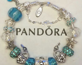 Authentic Pandora Charm Bracelet 925 ALE Silver Turquoise Blue Lampwork Murano Glass European Style Beads Free Shipping