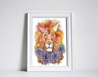 African Party Lion Print