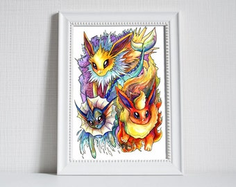 Pokemon Print - Eeveelutions! Jolteon, Vaporeon and Flareon!