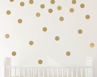 gold polka dot decals - gold polka dot wall decals - polka dot wall decals - polka dot decals - polka dot wall stickers - polka dots nursery