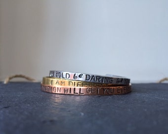 Thin/Skinny PERSONALISED  Cuff - Skinny Slim Aluminium, Brass, Gold,Copper- personalised bracelet-DESIGN your OWN Bracelet Cuff- Stackable