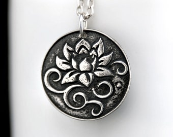 Lotus Necklace - Floral Necklace - Buddhist Jewelry - Silver Lotus Zen Flower Pendant - Bohemian Necklace - Sterling Silver Necklace