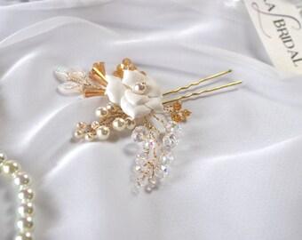 wedding hair pins, bridal hair pins, hair accessories, bridal headpiece, gold pins, wedding hair, hair accessory ivory hair pins bridal hair
