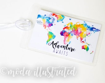 Personalized Luggage Tag, Custom Luggage Tag, Honeymoon Travel Tag, Luggage Tag Adventure, World Map, Group Travel Tag, summer family trip