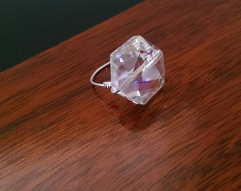 Wire Wrap Crystal Ring, Hexagon Ring, silver ring, hexagon Statement ring, wire wrap rings, Bridesmaids Gift