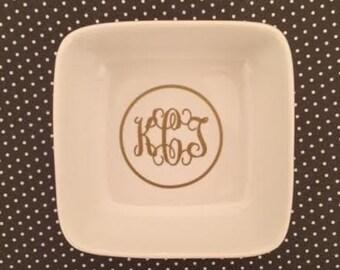 Monogrammed Ring Dish